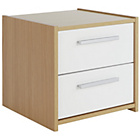 HOME New Sywell 2 Drawer Bedside Chest - Oak and White