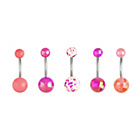 more details on My Body Candy Pink Belly Bar - Set Of 5.