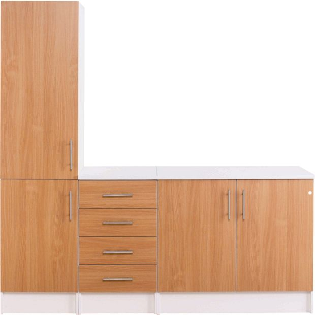 Buy athina 3 piece fitted kitchen unit package beech at for Signoraware organise your kitchen set 8 pieces