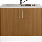 more details on Athina 1000mm Stainless Steel Kitchen Sink Unit - Oak Effect