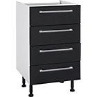 more details on Hygena Valencia 500mm 4 Drawer Kitchen Base Unit - Black.
