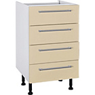 more details on Hygena Valencia 500mm 4 Drawer Kitchen Base Unit - Cream.