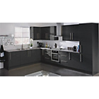more details on Hygena Valencia 300mm Tall Kitchen Larder Unit - Black Gloss