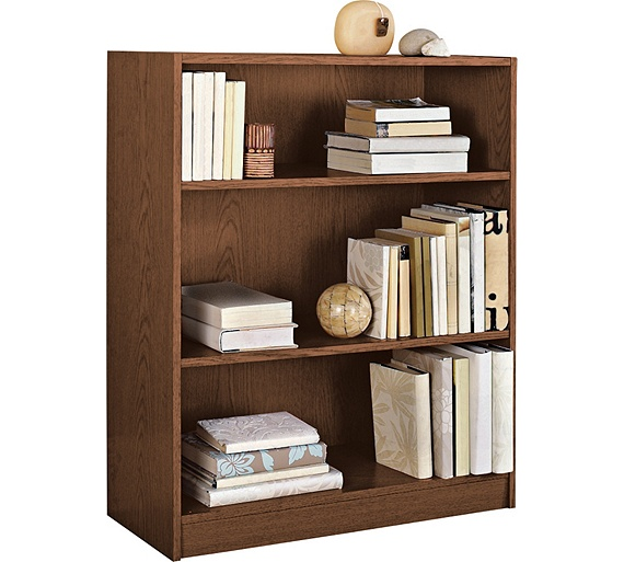 Buy home maine small extra deep bookcase walnut effect - Walnut effect living room furniture ...