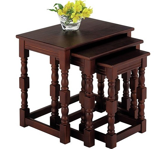 Buy home devon nest of 3 solid pine tables walnut effect at your online shop for Walnut effect living room furniture
