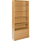 more details on Maine Extra Deep Bookcase with 2 Drawers - Oak Effect.