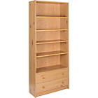 more details on Maine Extra Deep Bookcase with 2 Drawers - Pine Effect.