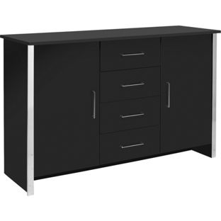 Genova 2 Door and 4 Drawer Sideboard - Black, width 117cm