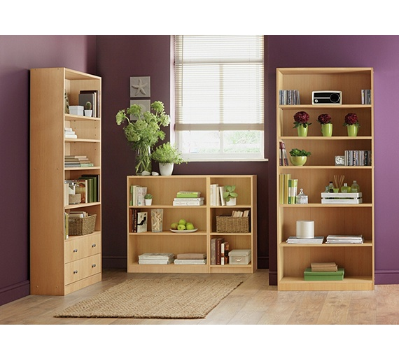 Buy Home Maine Tall And Wide Extra Deep Bookcase Beech