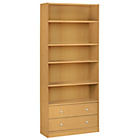 more details on Maine Extra Deep Bookcase with Drawers - Beech Effect.