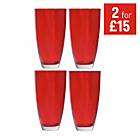 more details on HOME Everyday Set of 4 Hi Ball Glasses - Red.