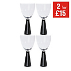 more details on HOME Everyday Set of 4 Wine Glasses - Black.
