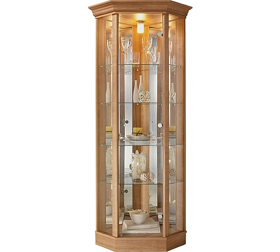 Buy home corner glass display cabinet light oak effect for Glass cabinet with lights