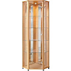more details on HOME Corner Glass Display Cabinet - Beech Effect.