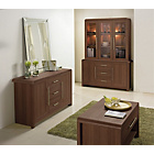 more details on Hygena Strand 3 Door 3 Drawer Display Cabinet-Walnut Effect.