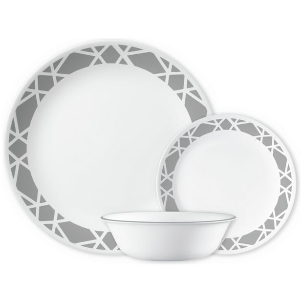buy corelle modena 12 piece dinner set grey at your