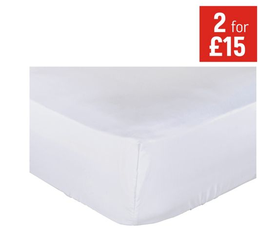 buy collection white non iron fitted sheet kingsize at. Black Bedroom Furniture Sets. Home Design Ideas