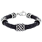more details on Urban Rock Stainless Steel Leather Bracelet Boxed.