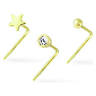 more details on My Body Candy 9ct Gold Crystal Nose Studs - Set Of 3.
