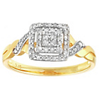 more details on 9ct Gold 0.20ct tw Diamond Square Cluster Twist Ring.