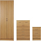 more details on Impressions 3 Piece 2 Door Wardrobe Package - Oak.
