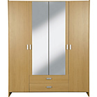 more details on Capella 4 Door 2 Drawer Mirrored Wardrobe - Oak Effect.