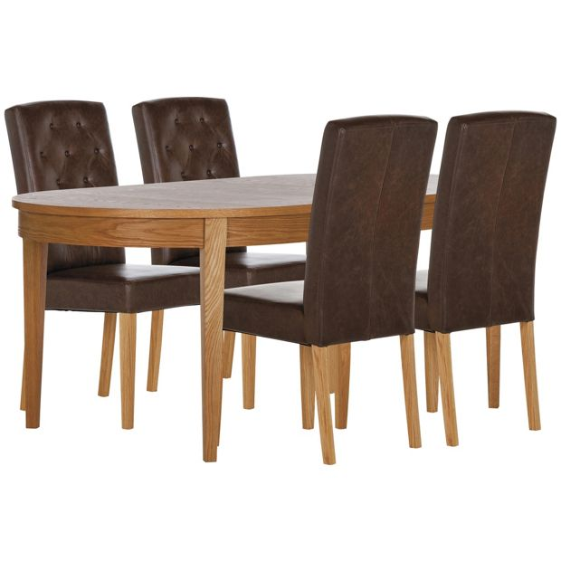 Buy schreiber corscombe table 4 oak chairs choc leather at your online shop Buy home furniture online uk