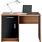 more details on Caspian Single Pedestal Desk - Walnut and Black Gloss Finish