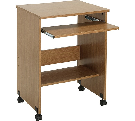 functional pc trolley oak effect6172413 argos pc living room