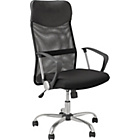 Mesh & Leather Effect Headrest Adjustable Office Chair-Black