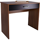 more details on Caspian 1 Drawer Desk - Walnut and Black Gloss.