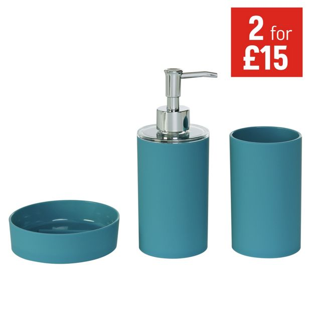 Buy colourmatch accessory set teal at your for Teal and black bathroom accessories