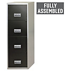 more details on 4 Drawer Silver and Black Metal Filing Cabinet.