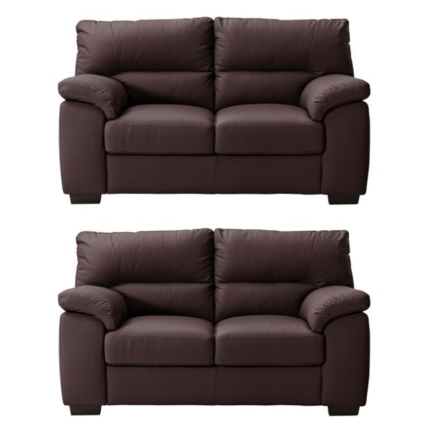 Buy collection piacenza pair of 2 seater leather sofas for Leather sofa 7 seater
