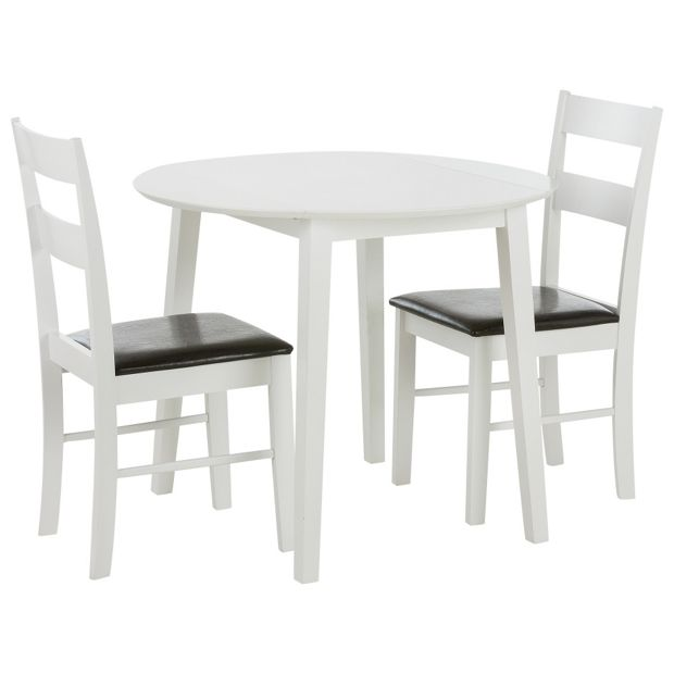 Buy home wyton round drop leaf table 2 chairs at your online shop for dining - Drop leaf table and chairs uk ...