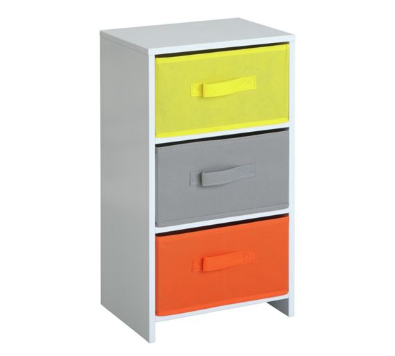 Buy home 3 drawer childrens canvas storage unit at argos for Bedroom units argos