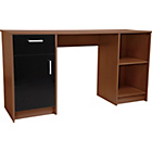 more details on Caspian Double Pedestal Desk - Walnut and Black Gloss.