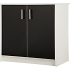 more details on Caspian Double Door Cupboard - White and Black Gloss.