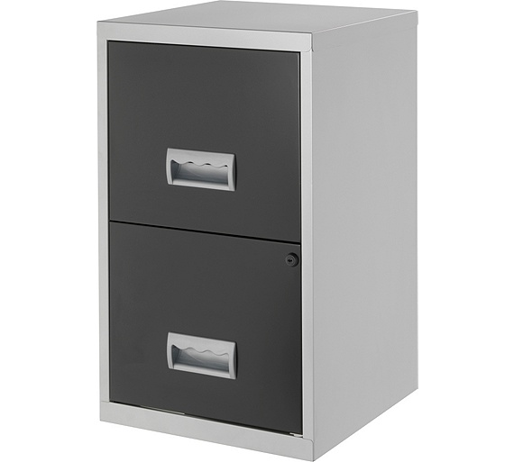 Buy metal 2 drawer filing cabinet silver and black at for Black and silver cabinet