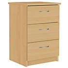 Collection Cheval 3 Drawer Bedside Chest - Beech Effect
