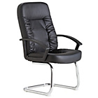 HOME Fixed Base Faux Leather Manager's Chair - Black