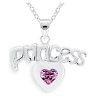 more details on Miss Glitter Silver Cubic Zirconia Princess Heart Pendant.