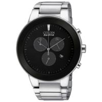 Citizen Eco Drive 43mm Axiom Black Dial Mens Chronograph Watch (Stainless Steel)