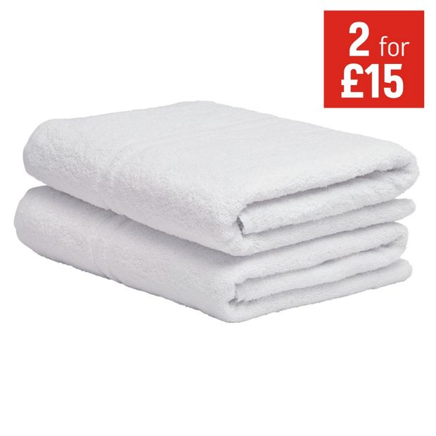 Buy colourmatch pair of bath towels super white at argos for How to keep white towels white