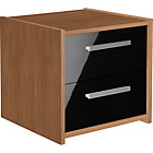 HOME New Sywell 2 Drawer Bedside Chest - Walnut and Black