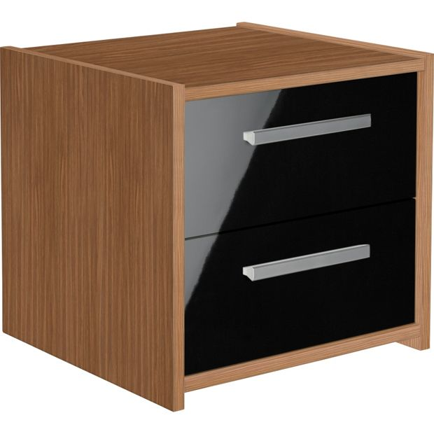 Buy home new sywell 2 drawer bedside chest walnut and black at your online shop Buy home furniture online uk