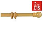more details on HOME 120cm Wooden Curtain Pole Set - Beech.