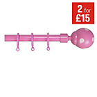 more details on HOME Extendable Metal Curtain Pole Set - Pink Polka Dot.