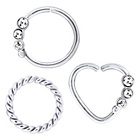 more details on My Body Candy Stainless Steel Mixed Nose Hoops - Set Of 3.