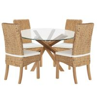 Abbotsley Dining Table with 4 Rattan Chairs (Oak)